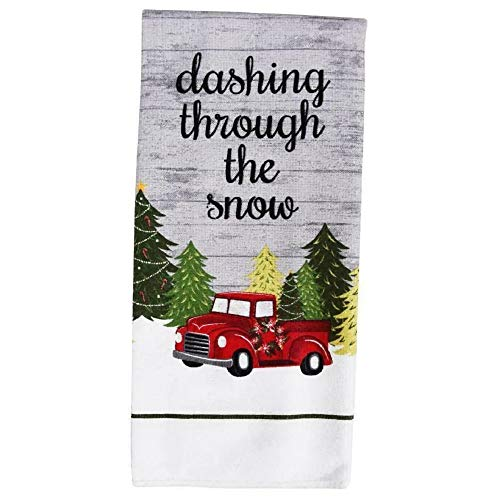 Greenbrier Set of 2 Christmas Dashing Through The Snow Microfiber Kitchen Towels, 15x25 in Red Truck Dishcloths Tea