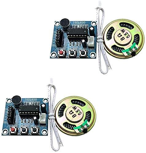 ICQUANZX Módulo de grabación de sonido ISD1820 de 2 unidades con módulo de reproducción de sonido grabadora de sonido con altavoz de audio de micrófono.