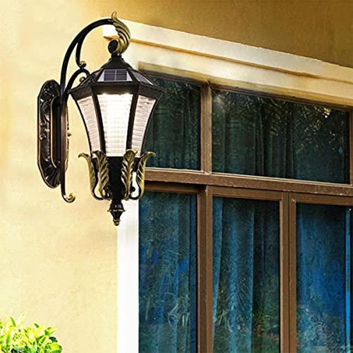 Luz de pared solar al aire libre, Retro europeo Seis lados Pared linterna IP44 Impermeable Abajo la pared Lámpara de seguridad de jardín E27 Sconence para la iluminación externa del pasillo, H50CM