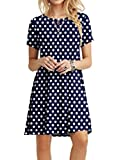 POPYOUNG Women's Summer Casual T-Shirt Dresses Beach Dress 3X-Large, Polka Dot Navy Blue