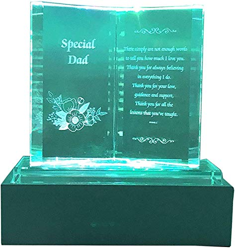 Special Dad Crystal Glass Colourfull Lights Memorial Plaque with LED Stand Gift Ornaments, Ideal for Mother's Day, Birthday, Christmas and Wedding Anniversary