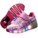 Recollect Unisex Zapatos de Ruedas Skate Led Luz Zapatillas con Ruedas Patines Deportes Zapatos para Niños/Niñas,Pink,29EU