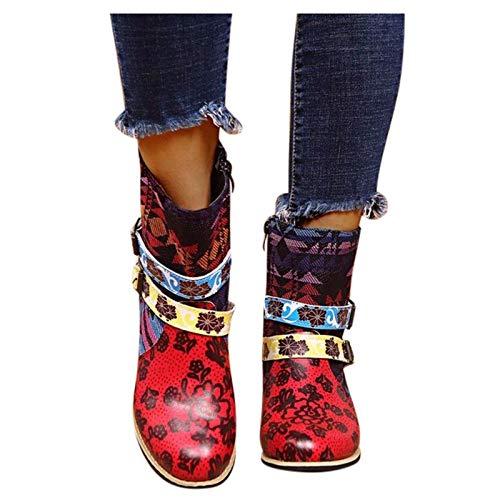 Dasongff Leder Stiefeletten Damen mit Absatz, Bunte Stiefel mit Lederschnalle und Reißverschluss Komfort Retro Spleißmuster Kurze Stiefel Herbst Winter Schuhe Enegant Party Schuhe