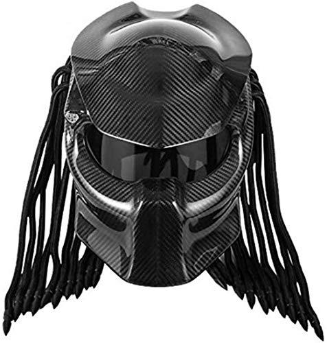 ZFAME Casque pour Hommes de la Moto de Predator Predator Casque, Full Face Fer Warrior, Helme modulable Complet de sécurité,Noir,XL