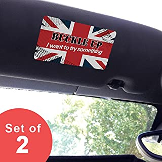 Artistic Reflection Small - Buckle Up I Want to Try Something - Visor Sticker Set for Mini Cooper