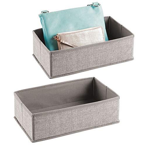 mDesign - Lade-organizer - opbergmand/opbergbox - voor kasten en lades - voor kleding/handtassen en meer - flexibel/stof - Linnen - per 2 stuks verpakt
