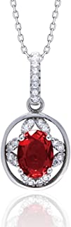 Rshow S925 Sterling Silver Bulgarian Red Rose Elegant Style Necklace