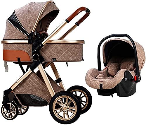 FXBFAG Cochecito de bebé multifunción, compacto 3 en 1, plegable con una sola mano, cochecito con cesta de la compra y bolsa para mamá (color caqui)