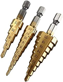 13 pezzi in acciaio ad alta velocit/à Set di punte per trapano codolo esagonale 4 Mark8shop 1,5-6 mm HSS con rivestimento in titanio 1//10,16 cm