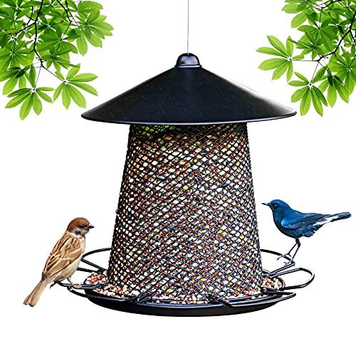 AutoFold wetterfestes hängendes Vogelhaus, Edelstahl-Vogelfutterstation mit Ansatzbereichen, ganzjähriger Futterspender, Wildvogelfutterautomat mit großem Fassungsvermögen für den Balkon, im Freien