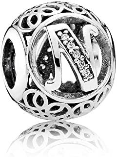 Letter Alphabet Charms Vintage A to Z Clear Cubic Zirconia (CZ) Alphabet Letter Sterling Silver Charm beads Initial charms for bracelets, Bangles & Necklaces
