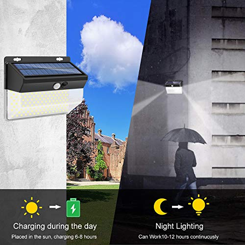 Solar Lights Motion Sensor, 262 LEDs Outdoor Lights Upgraded Solar Wall Light Wireless, 3 Modes (Security/ Permanent On All Night/ Smart Brightness Control ) with IP65 Waterproof, Wide Angle (2 Pack)