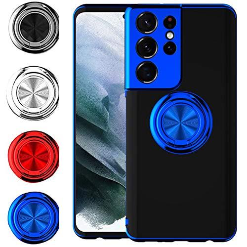 FOURTOC Funda para Samsung Galaxy S21 Ultra con Anillo Kickstand Anti Caída Antideslizante Magnético Enchapado Transparente Back Funda,Azul,S21 Ultra