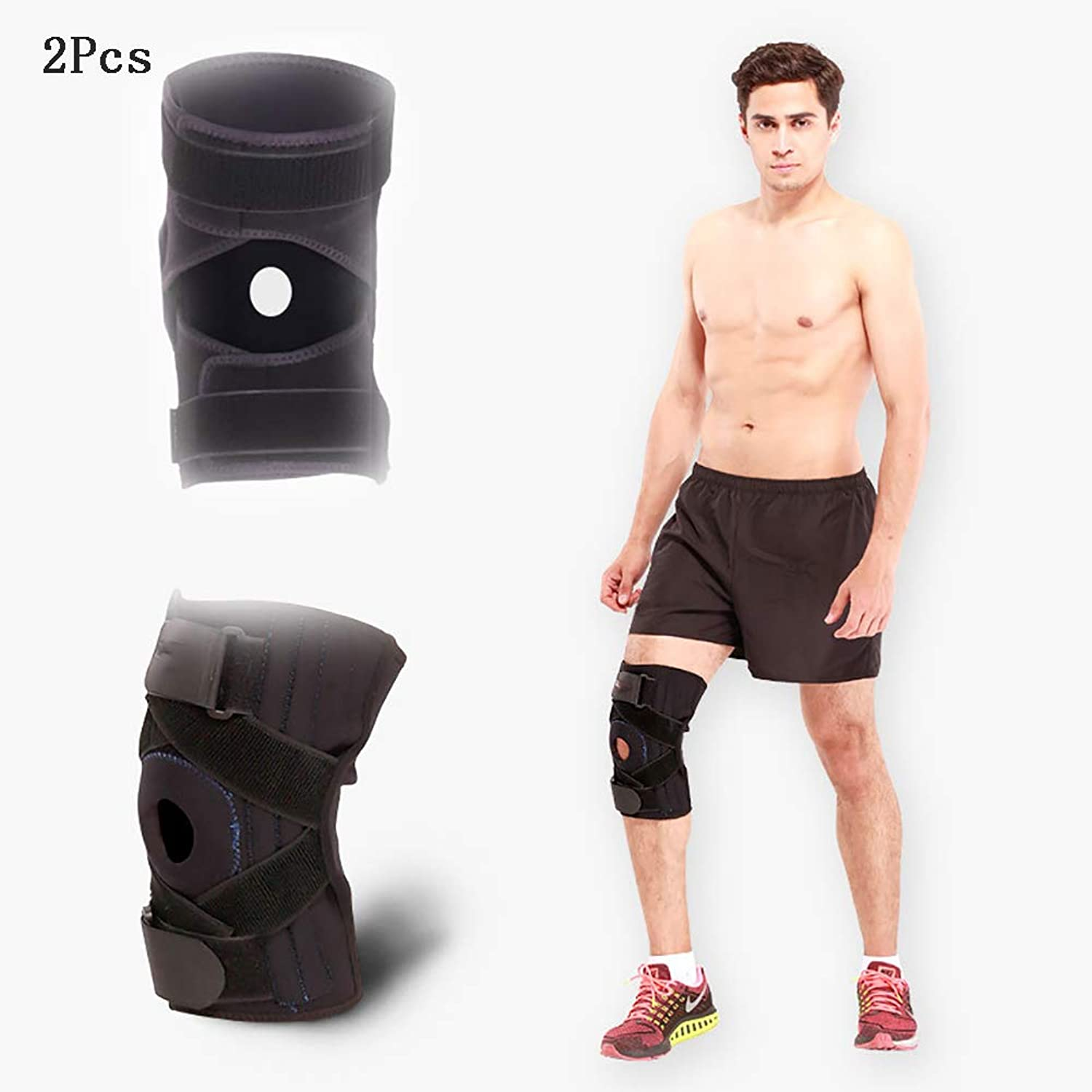 Motion Knee Brace, Adjustable Open Patella Stabilizer for Sports Sprains, Arthritis, ACL, Ligament Injuries 2Pcs,M