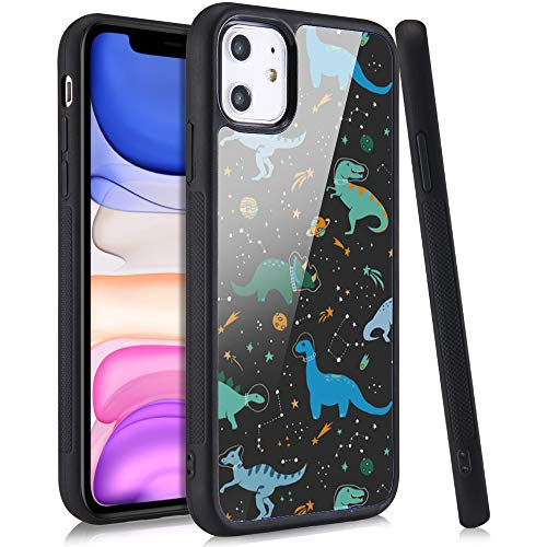 LuGeKe Space Dinosaur Print Phone Case for iPhone 7/iPhone 8/iPhone SE2020,Starry Dino Pattern Case Cover,Soft Silicone Case with Metal Sheet Anti-Stratch Bumper Protective Phonecase(Planet Dinosaur)