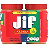 Jif Creamy Peanut Butter Twin Pack, 2-40 Ounces, 7g (7% DV) of Protein per Serving, Smooth, Creamy Texture, No Stir Peanut Butter