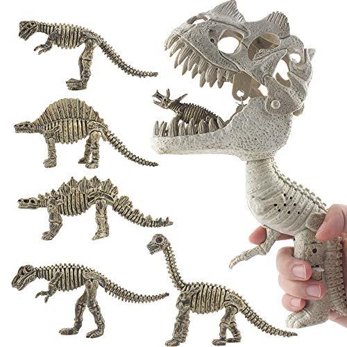 DINOBROS Dinosaur Chomper Toys with Roaring Sound Dinosaur Fossil Skeleton Grabber with 6 Small Dino Figures Playset for Kids Boys