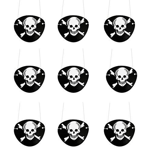 Oblique-Unique Piraten Augenklappe 9 Stück Schwarz Seeräuber Fasching Karneval Piratenkostüm Geburstag