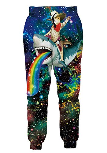 Mens Rave Long Joggers Pants Tall Guys Hip Hop Hippie Stretch Sweatpants Animal Patterned Galaxy Space Regular Fit Leisure Suit for Spring Summer Lounge Jogging Trekking