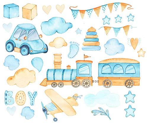 EmmiJules muursticker voor de babykamer - Made in Germany - Jongen baby boy baby kinderen deco trein, vliegtuig geboorte wolk auto muursticker