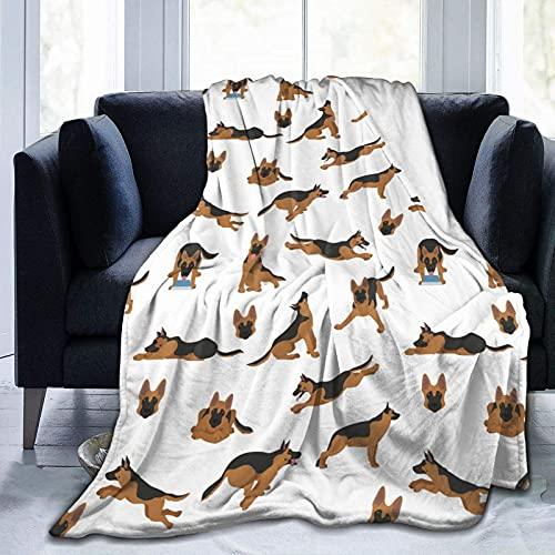 Manta de Felpa Suave Cama Poses De Perros Pastor Alemán Manta Gruesa y Esponjosa Microfibra, Suave, Caliente, Transpirable para Hogar Sofá , Oficina, Viaje
