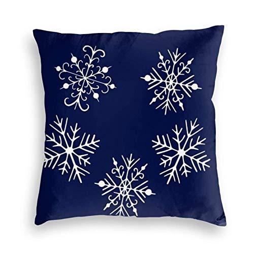 Funda de cojín Funda de Almohada Tiro decorativo del copo de nieve azul para la decoración de la sala de estar del dormitorio del sofá del sofá Cojines 45X45CM