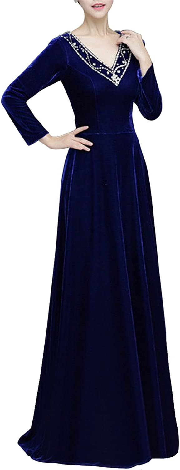 JudyBridal Women Long Velvet Formal Evening Dress with Long Sleeves