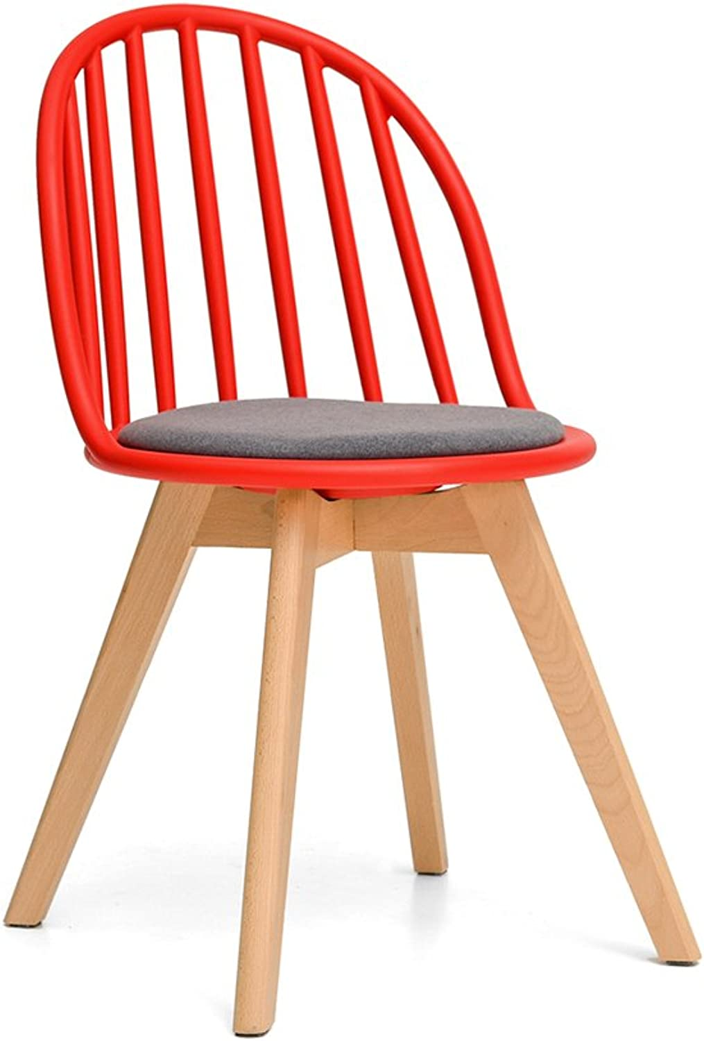 Northern Europe Dining Chair Plastic Backrest Simple Modern Casual Solid Wood Household Chair (color   RED, Size   Set of 1)