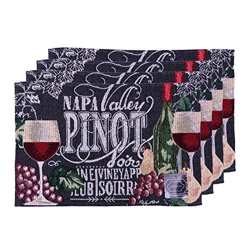 "Set of 4, Printed Decorative Wine Design Tapestry Placemats for Dining Table, Table mat for Dining Room Easy to Clean, Machine Washable Size: 13"" x 19"". (Napa Valley)"
