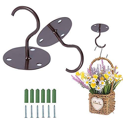 TBoxBo 2Pcs Ceiling Hooks for Hanging Plants Heavy Duty Hanging Hooks with Screws for Hanging Bird Feeders Lanterns Wind Chimes Planters Outdoor Decoration Hooks