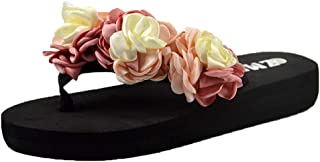 SSYUNO Women's Fashion Platform Wedge Thong Flip Flops Sandals Comfy Bohemian Casual Beach Shoes Indoor Outdoor Slippers