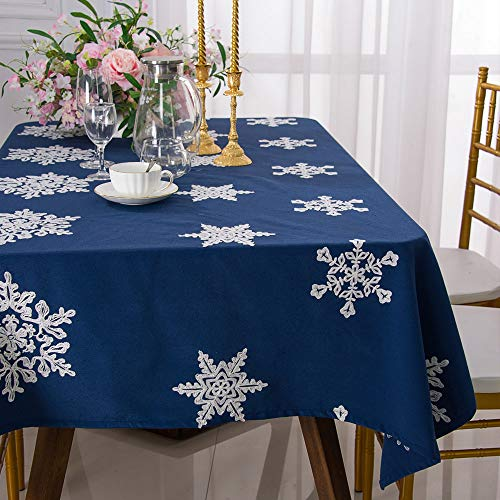 Molaxhome Embroidered Tablecloth Christmas Snow Flake Cotton Blend Table Cloth Cover for Home Kitchen Dining Entertaining Tabletop Serveware