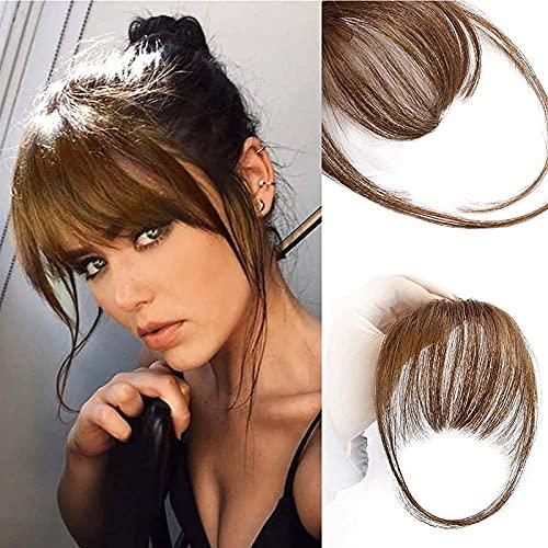Peluca de reemplazo de cabello, Clip en flequillo 100% extensiones de cabello humano Clip marrón en flequillo de flecos con buenas flequillas naturales naturales naturales con templos para mujeres de