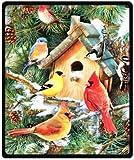 winter cardinal Birds Design Throw Blanket Fleece 50' x 60' (Medium)