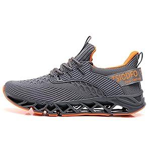 Ezkrwxn Men Grey Sneakers Casual Running Shoes Fashion Tennis Athletic Walking Shoes Runner Jogging Shoe Size 7.5