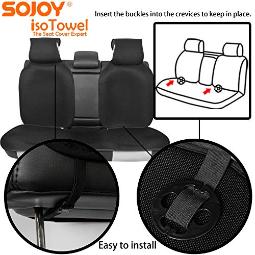 Sojoy Four Seasons Universal Full Set of Car Seat Cushion Covers Advanced Material TOP of The LINE (Black)