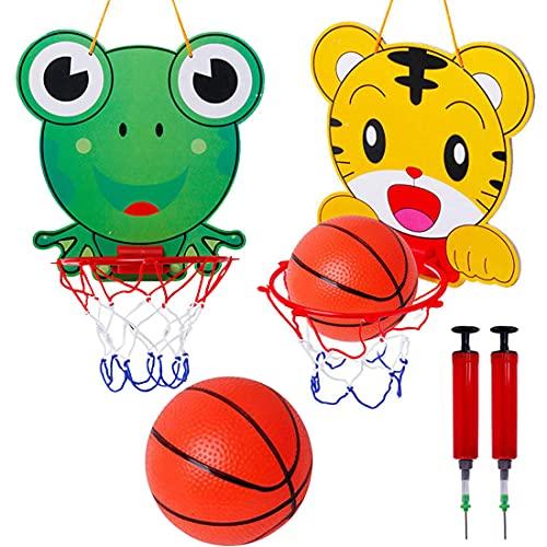Caland Mini Canestro Basket 2 PCS Children's Tiger & Frog Hanging Basketball Hoop And Backboard Set con Sfera e Pompa Mini Canestro da Basket per Giochi Aperto e Interno Bambini Adatto per 1-6 Anni