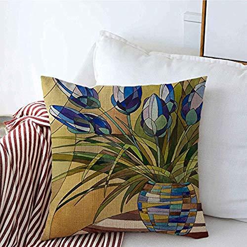 New-WWorld-Shop Kissenbezüge Stiele Malerei Abstrakte Blumen Mosaik Flugzeug Zeichnung Genre Vase Geometrische Blätter Nadeln Kissenbezüge