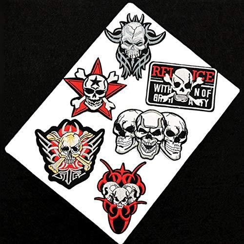 Patch Sticker,Parche termoadhesivo,Aplique de bordado adecuado para sombreros, chaquetas, abrigos, camisetas, combinación de calaveras 6 piezas