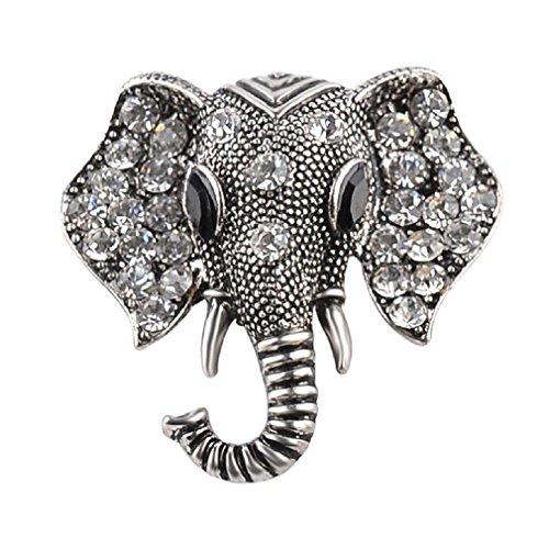 GUAngqi Women Brooch Colored Rhinestone Elephant Brooch Pin Elephant Buckle Brooch,Old Silver