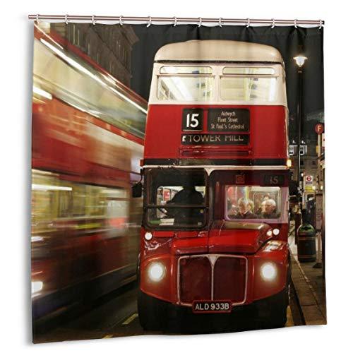 N/A douchegordijn met haken badkamer gordijnen waterdichte meeldauw bestendige schimmel antibacteriële bad, 12 haken 183 X 183CM(Londen Engeland Bus Night Lights mensen wazig)