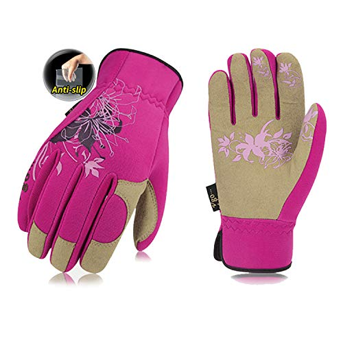Vgo Garten- und Arbeitshandschuhe, Palme aus Synthetik, Weibliche Handschuhe (1 Paar, 8/M, Violett, SL7443)