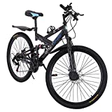 【 US Stock】 High Carbon Steel 26 inch Mountain Bike, Not Folding, Shimanos 21 Speed Bicycle Full Suspension MTB Bikes, Comfortable Racing Cycling Fast-Speed for Men, Black (A)