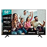 Hisense 58A66G 2021 Series - Smart TV 58' 4K UHD con Dolby Vision HDR, DTS Virtual X, Freeview Play, Alexa Built-in, Bluetooth