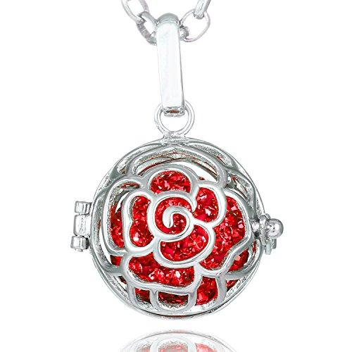 Morella Collana Donna Acciaio Inox 70 cm con Ciondolo a Forma di Rosa e Sfera Rossa Ø 16 mm in Sacchetto di Velluto