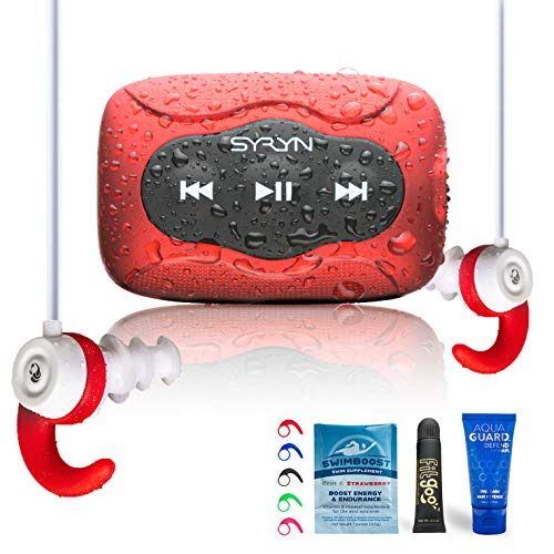 SYRYN 8 GB Waterproof Music Player (Compatible with iTunes Files) and Swimbuds Color Headphones