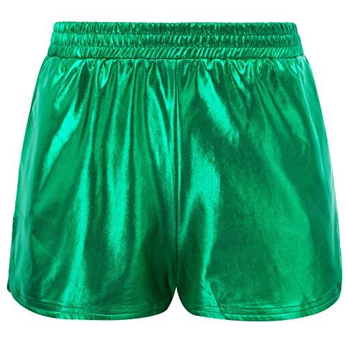 Kate Kasin Damen Shiny Metallic Rave Booty Tanz Shorts Sommer Wetlook Hot Pants, Grün (862-8), XXL