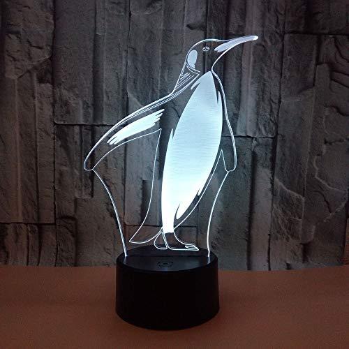 Xc 3D Animal Night Light,Penguin 3D Night Light Coloré Tactile Télécommande, Cadeau Ambiante 3D Petite Lampe De Table (Taille : Black seat: touch remote control)