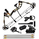 """2021 Compound Bow and Arrow for Adults and Teens – Hunting Bow with Gordon Limbs Made in USA - Fully Adjustable for Women and Youth 30-70 LBS, 23.5-30.5"""" - 320 FPS Speed – 5-Pin Sight, Quiver - Right"""