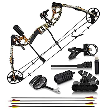 """2021 Compound Bow and Arrow for Adults and Teens – Hunting Bow with Gordon Limbs Made in USA - Fully Adjustable for Women and Youth 30-70 LBS 23.5-30.5"""" - 320 FPS Speed – 5-Pin Sight Quiver - Right"""